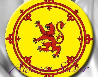 Scottish Lion Rampant Flag Royal Standard of Scotland Pinback Button, pocket Mirror, Magnet or Bottle Opener/Keyring