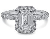 Emerald Cut Halo Eternity Diamond Engagement Ring Eternity E26