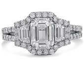 Emerald cut 3 stone antique style diamond engagement ring  E28