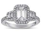 Emerald Cut Diamond Engagement Ring with Baguette & Round Cut Diamonds E25