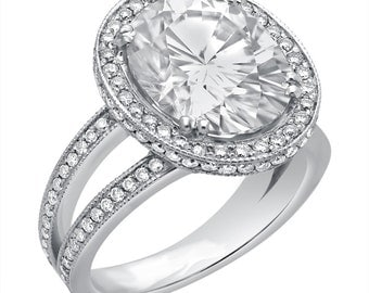 Oval cut forever brilliant moissanite with Diamonds Engagement Ring O11