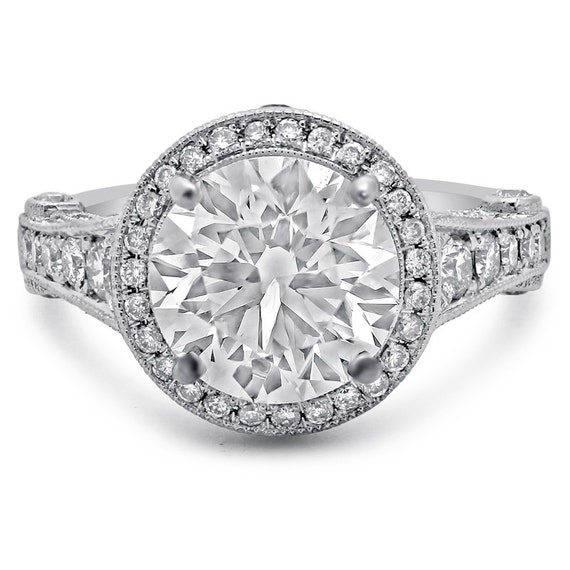 ROUND cut designer inspired antique style diamond engagement ring 14k white gold 4.10CTW