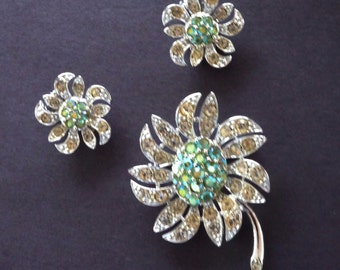 Vintage Rhinestone Brooch Earrings Set Sarah Coventry Mountain Flower Aurora Borealis Peridot Green 1968