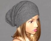 Anna, 100% pure cashmere hat,  slouchy, beanie, grey heather..,