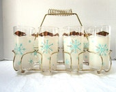 REDUCED FABULOUSVintage MCM Drinking Glasses Complete w/ Gold Metal Carrier, 9 Piece Set, Aqua Atomic Snowflake, Retro Barware Tall Frosted