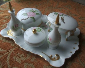 Beautiful Hand Painted Vintage Porcelain Hinoda Vanity Set, Japan. 6 Piece  L  idded Set of Rose floral & Gold Gilt