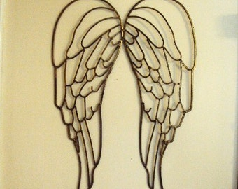 Shabby Chic Wrought Iron Angel Wings Fairy Wings Antique Gold Distressed Chippy Metal Wall Decor