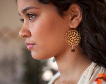Gold filagree earrings with wood bead dangle