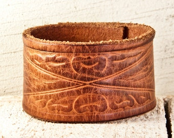 Leather Jewelry - Tooled, Stamped, Carved, Embossed, Vintage, Leathercraft
