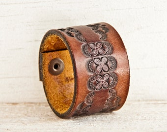 Leather Cuff Leather Bracelet - Embossed Leather , Stamped Leather, Carved Leather, Rustic Leather, Vintage Leather - Leather Wristband
