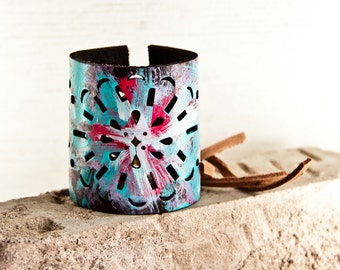 Handpainted Jewelry Cuff -  Gift Bracelets Painted Leather Accesssories - Boho Trends 2017