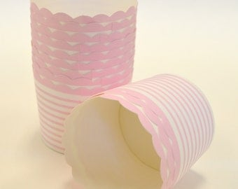 Pink Horizontal Stripe Nut or Portion Paper Baking Cups with Scalloped Tops - Horizontal Stripe Light Pink and White - set of 24