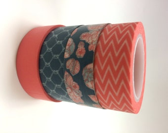 Washi Tape Set - 15mm - Navy and Coral - Four Rolls Washi Tape No. 955, 890, 919, 563
