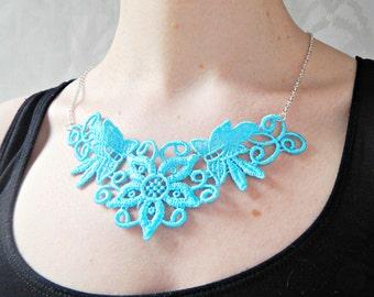 Turquoise Blue Floral Lace Necklace