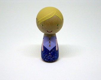 Simply Rapunzel Kokeshi Peg Doll / Collectable / Art Doll /