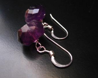 Amethyst Earrings, Faceted Amethyst Rondelles Sterling Silver, Amethyst Silver, February Birthstone, Purple Earrings, Amethyst Jewelry