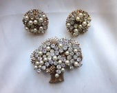Vintage Rare Francois Tree of Life Brooch Earrings Set Rhinestone Faux Pearl