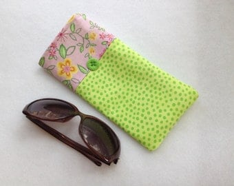 Sunglasses Case, large size glasses sleeve, green polka dots cotton,  eyeglass cozy, soft case, gift for women