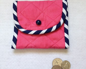 Coin Purse, change case, business card holder, purse organizer, hot pink, navy and white, gift idea for mom, friend, daughter, coworkers