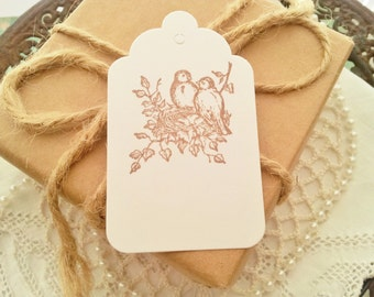 Bird and Nest Label Tags Great for Weddings, Baby Showers. Bridal Showers White Tags Set of 50