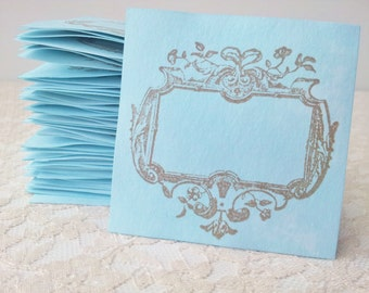 Wedding Place Escort Blue Label Tags Elegant Frame Hand Dyed Place Cards Set of 100
