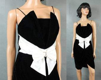 80s Prom Gown XS Vintage Black Velvet White Satin Sleeveless Mini Dress Short Free US Shipping