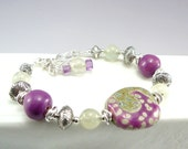 Ceramic Beads, Kazuri Bracelet, Ceramic Bracelet, Ceramic Jewelry, Fair Trade Jewelry, Green Bracelet, Abstract Design, Green Jewelry