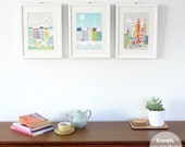 ANY 3 Small Prints (5x7   8x10   8x11.5), Choose ANY art in my shop, New York, London, Paris, Rome, Chicago, cityscape, skylines, SPPSO1