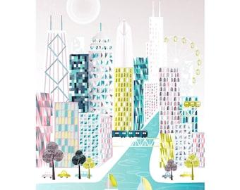 Chicago Print, Illinois Skyline Wall Art, Cityscape Poster Illustration, For Home, Office, Nursery, Christmas Gift, SPPC1