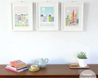 ANY 3 Small Prints (5x7 | 8x10 | 8x11.5), Choose ANY art in my shop, New York, London, Paris, Rome, Chicago, cityscape, skylines, SPPSO1