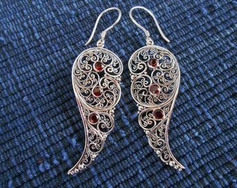Bali Sterling Silver dangle Earrings / silver 925 Garnet gemstones / Balinese handmade jewelry / floral design / 2.35 inches long