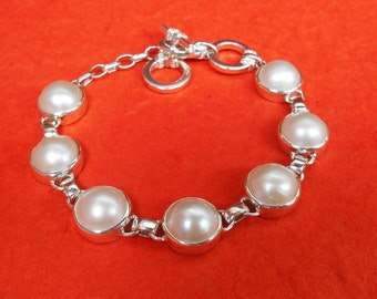 White mabe pearl chain sterling Silver bracelet / Silver 925 / Bali handmade jewelry - length 7 inches ready to ship