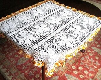 Tablecloth Vintage Crochet White Crocheted Shamrocks Cotton Lace Orange Ruffle