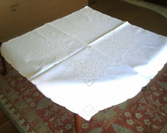 Vintage Linen TABLECLOTH Drawn Hemstitching Open Cut Lace Topper Hemstitched