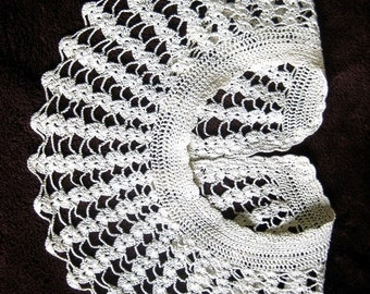 Sweater Dress Trim Scarf Wrap Shawl Stole Chapel Collar Church Lace Victorian Irish Crocheted Fanned