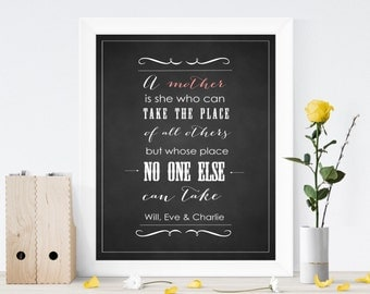 """Typography Chalkboard wall art print - A Mother's place (8""""x10"""")"""