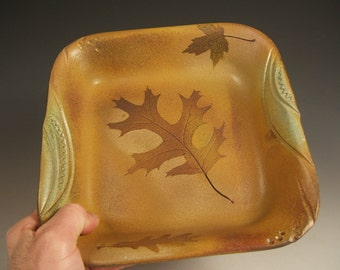 Serving bowl stoneware bowl square bowl earthtones with leaf impressions
