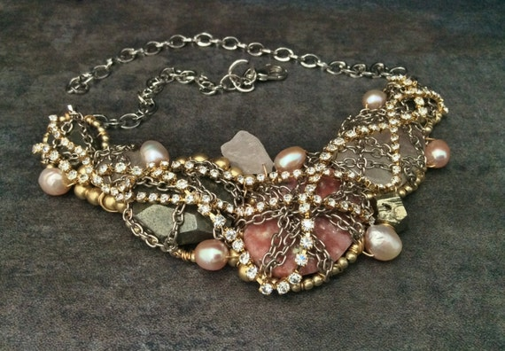 Tangled Chain Necklace in Pink Pearl & Gold Chain - High Fashion Jewelry by Sharona Nissan