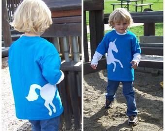 Unicorn Tshirt Wrap Around Fabric AppliqueYouth Child Kids Size XSmall 4 5, Small 6 7, Medium 8 10, Large 12 14, XLarge 16 18