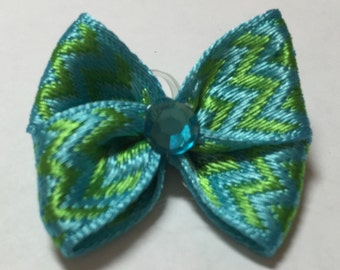 Green & Turquoise Chevron Pattern Dog Grooming Hair Bow with Turquoise Rhinestone Center