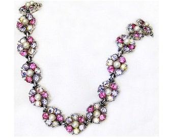 Bogoff Pretty Pink and Light Amethyst Rhinestone Necklace