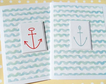 Nautical Cards - Nautical Thank You Cards - Nautical Anchor Cards -  Nautical Card Set - Nautical Notecards - WCAC