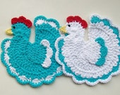 Chicken Rooster Pot Holders Bird Potholder Hot Pad Crochet COTTON Set of 2 Turquoise & White Handmade Kitchen Decor Housewarming Gift New