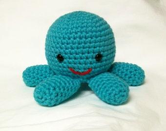 Octopus  Stuffed Toy Plush Amigurumi Turquoise Aqua Blue Crochet Toy Sea Creature Kawaii Handmade Plushie