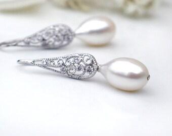 Teardrop Pearl Earrings   White Freshwater Pearl - Filigree Sterling Dangles   Art Deco Style   Bridal Pearl Jewelry   June Birthday Gift