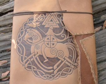 Extra Large Handmade Leather Journal with Sleipnir Odin's Horse  with Free Personalization