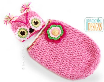READY to SHIP Chunky Flower Owl  Hat and Cocoon Set for Babies for 3-6 months