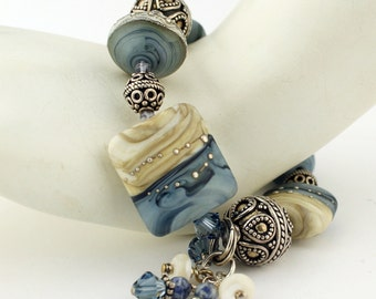Lampwork Bracelet and Earrings Set, Sterling Silver Blue Beige Chunky Beaded Jewelry  'Denim Summer'