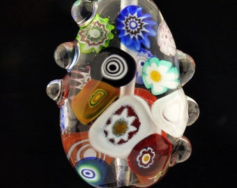 Lampwork Glass Bead Organic Focal with Clear and Murrini Blue Green Brown Orange Black 'Suspended'