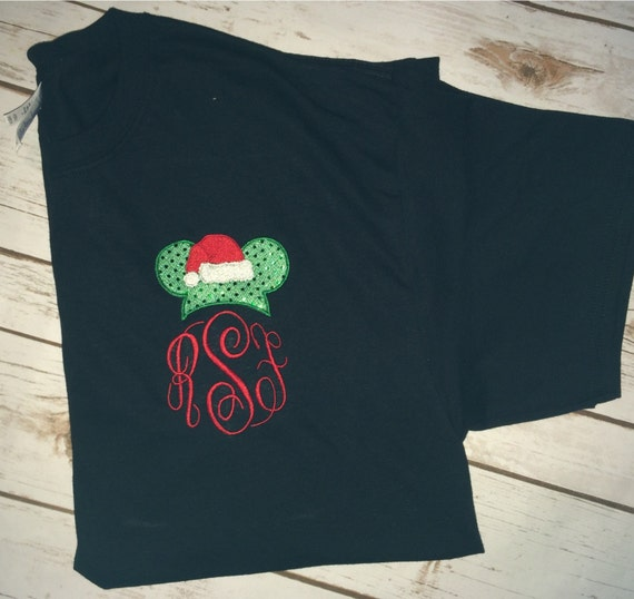 Mickey Mouse Santa Initial Shirt